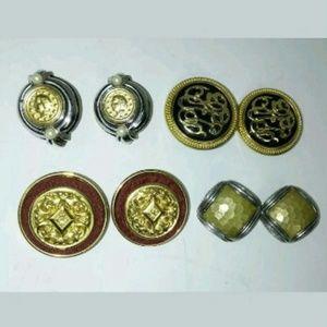 Jewelry - Earring Lot of 4 Clip Pierced Medallion Regal